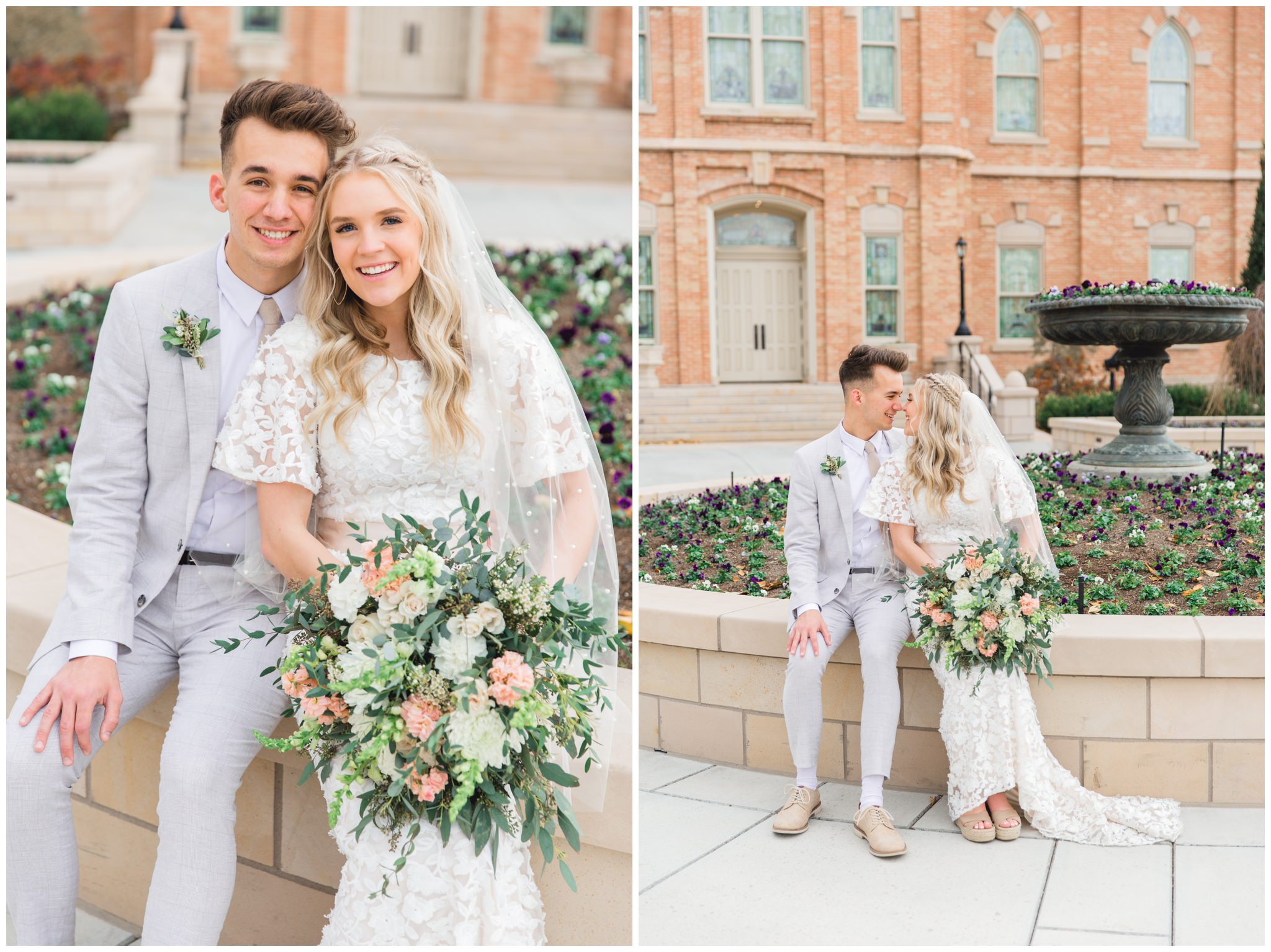 Bride and Groom near a bed of flowers at the Provo City Center Temple in Utah