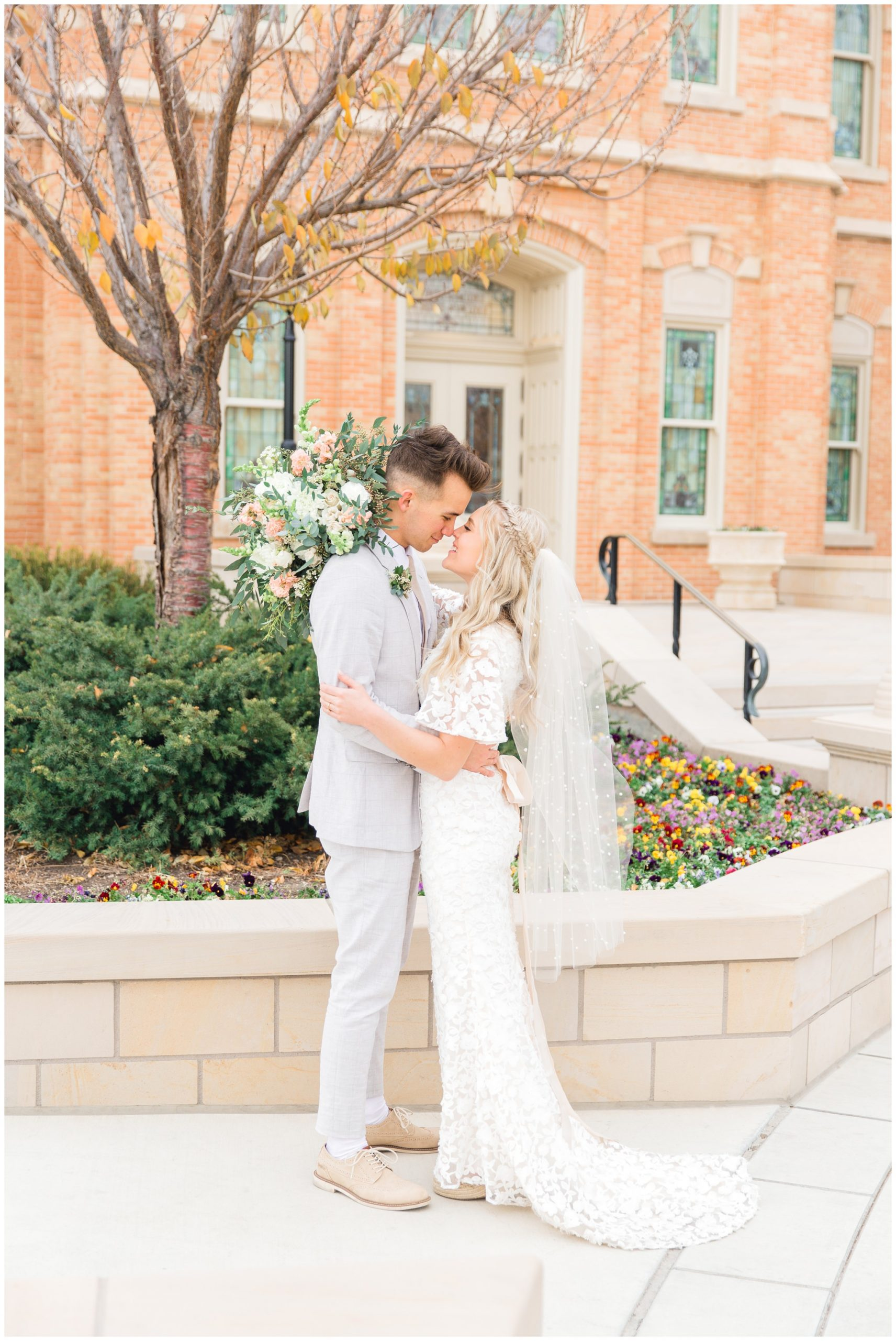 Bride and Groom at the Provo Temple in Utah