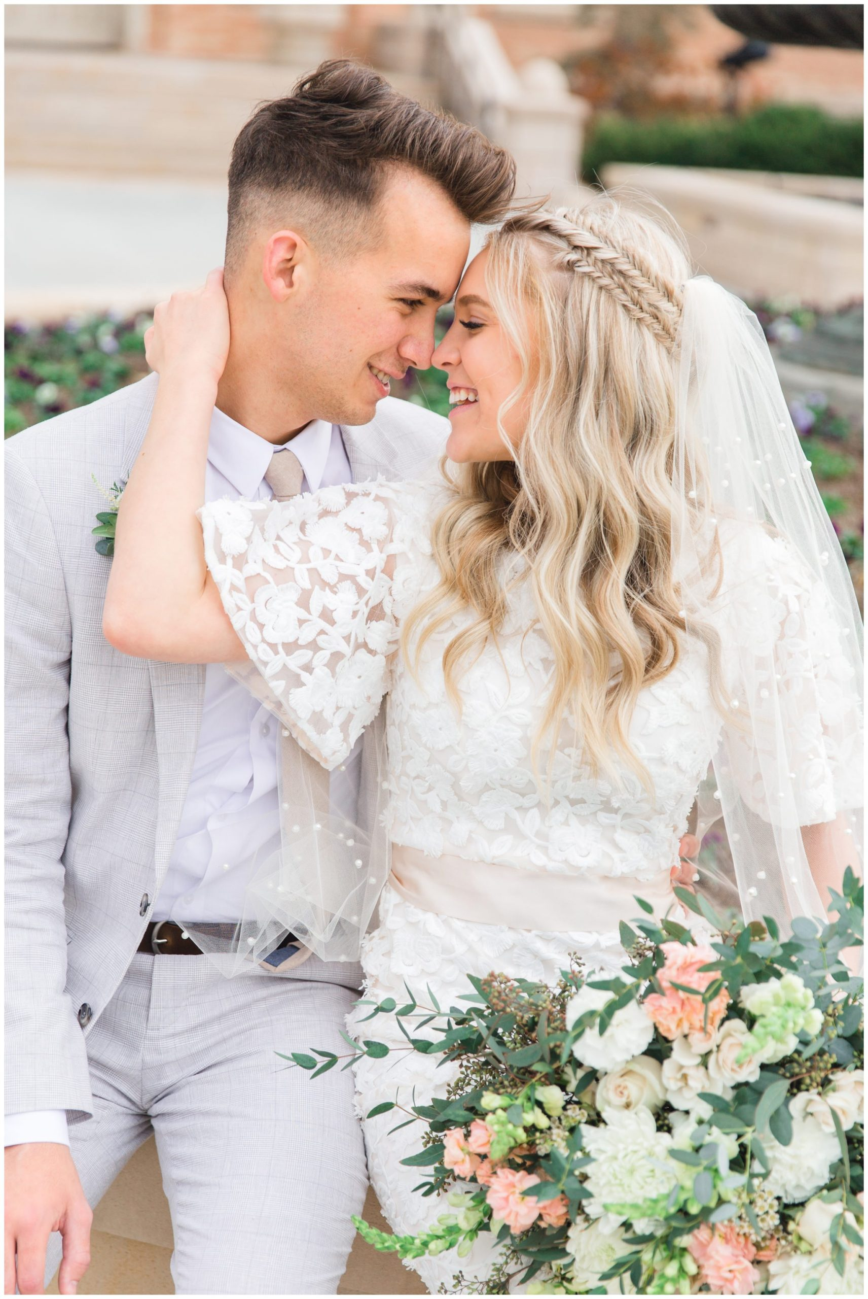Bride and Groom at LDS Temple
