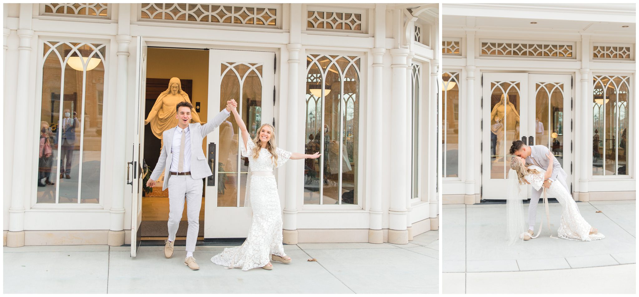 Bride and Groom exiting Provo City Center Temple on their wedding day