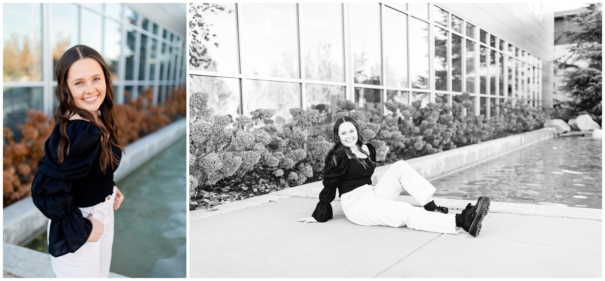 Senior girl posing for high school pictures in Rexburg, Idaho