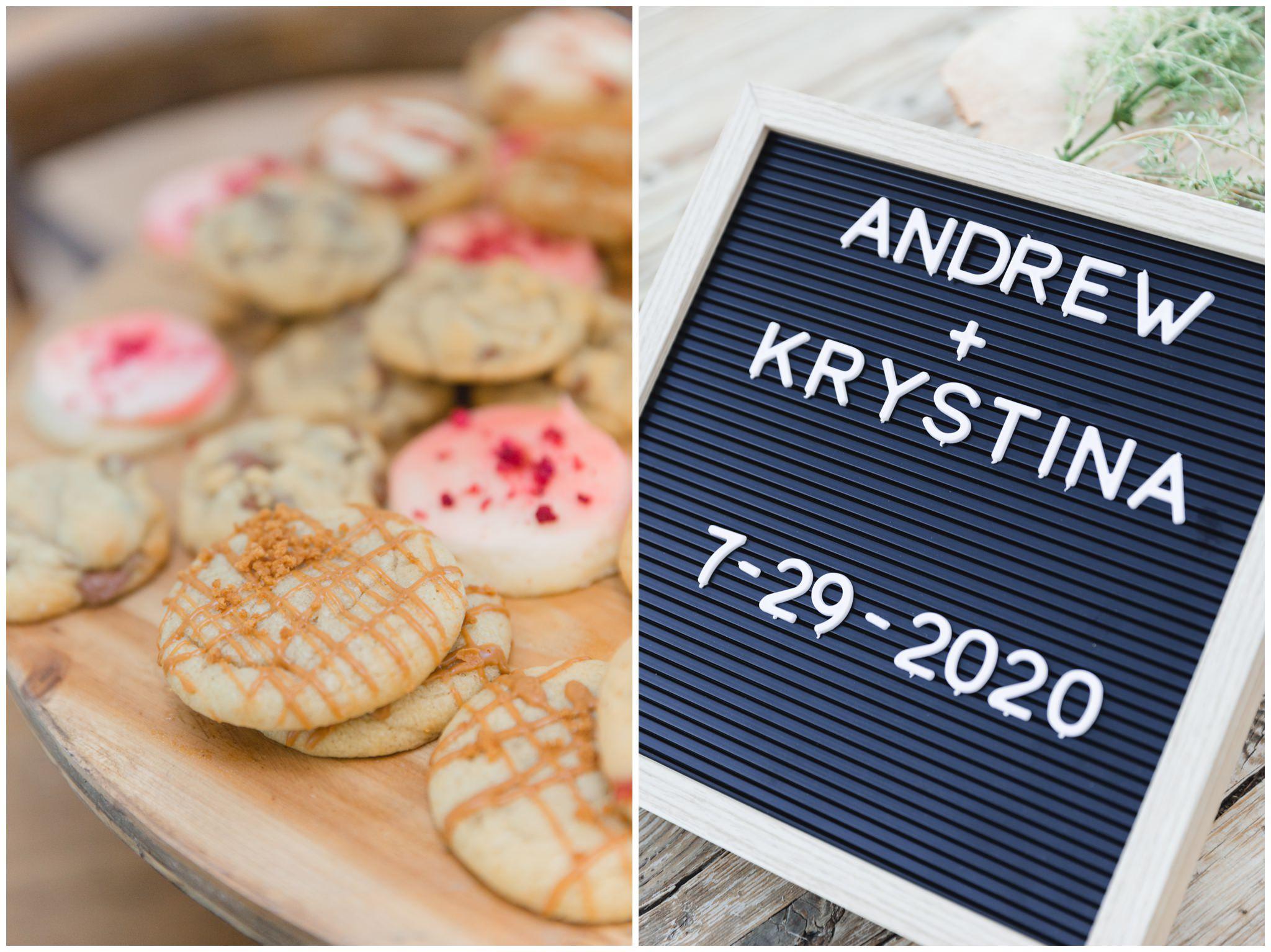 Wedding details of cookie and wedding sign at summer wedding in Utah