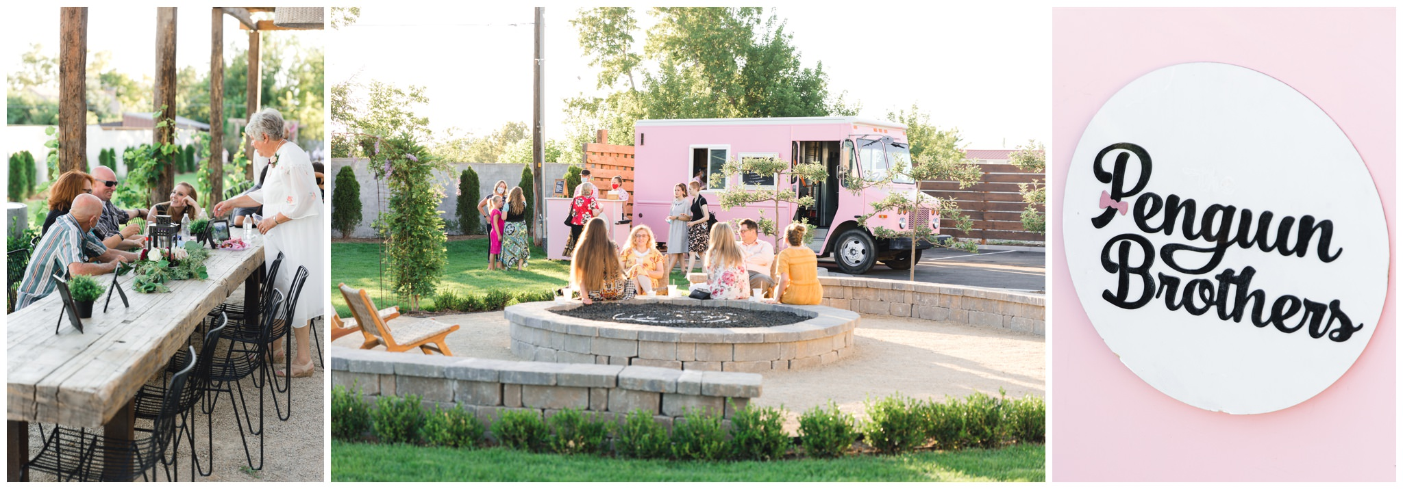 Penguin brothers pink truck for serving ice cream sandwiches at weddings in the Summer