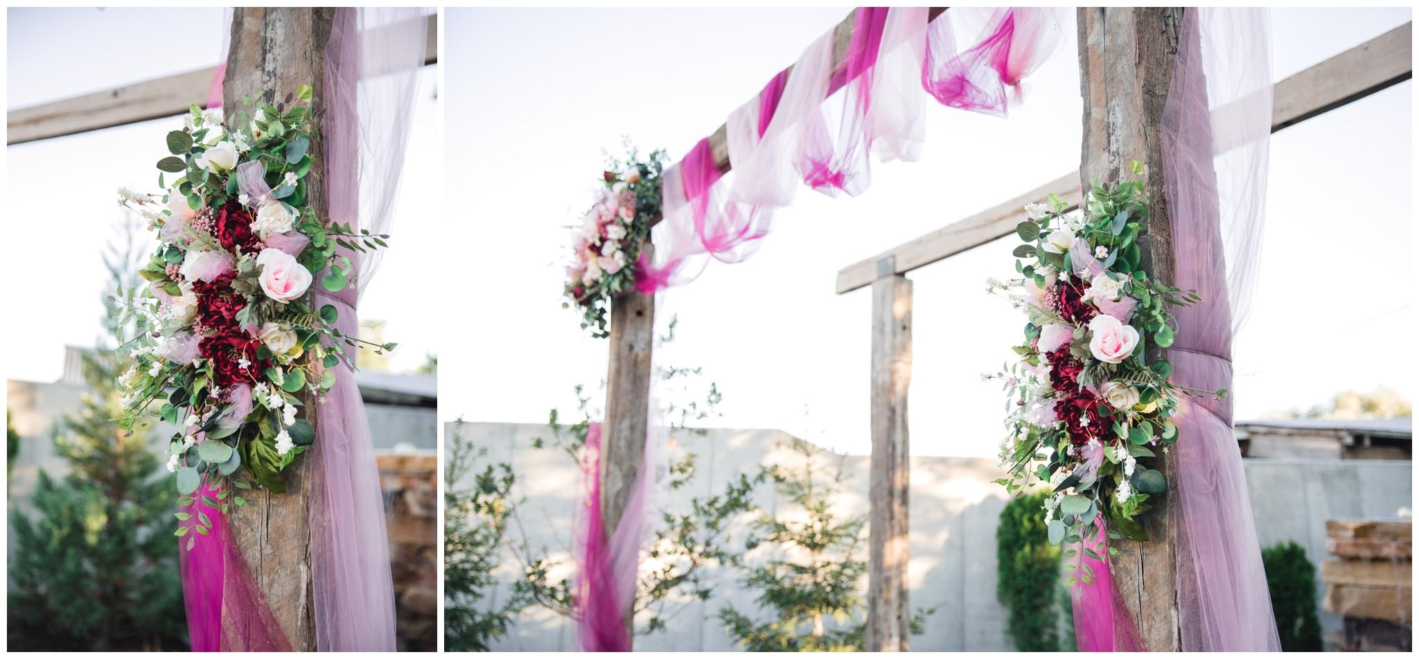 detail pictures of burgundy floral arrangements at wedding in Lindon, Utah.