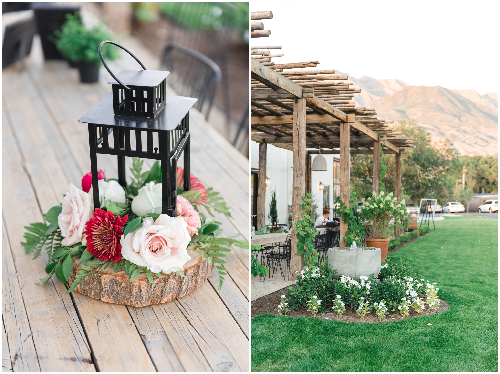 Wedding details of burgundy and deep red floral arrangements at wedding in Utah