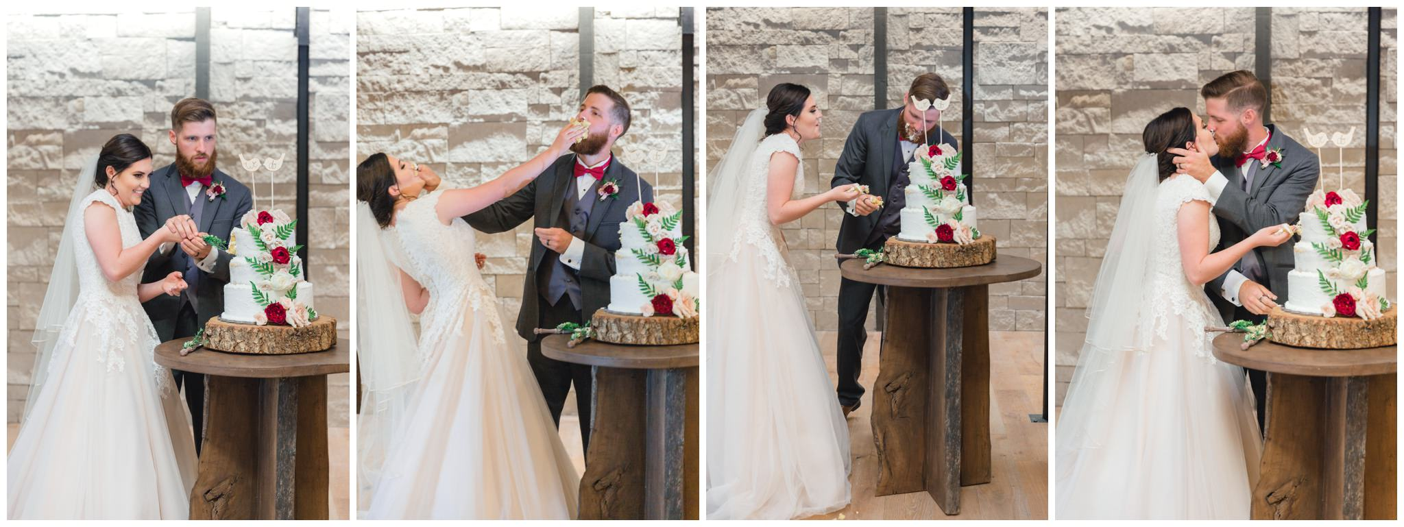 Bride and groom cutting the cake, smashing it into each others faces and then kissing