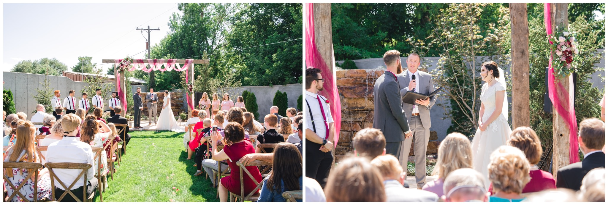 Summer wedding with burgundy and pink arch in  Lindon utah