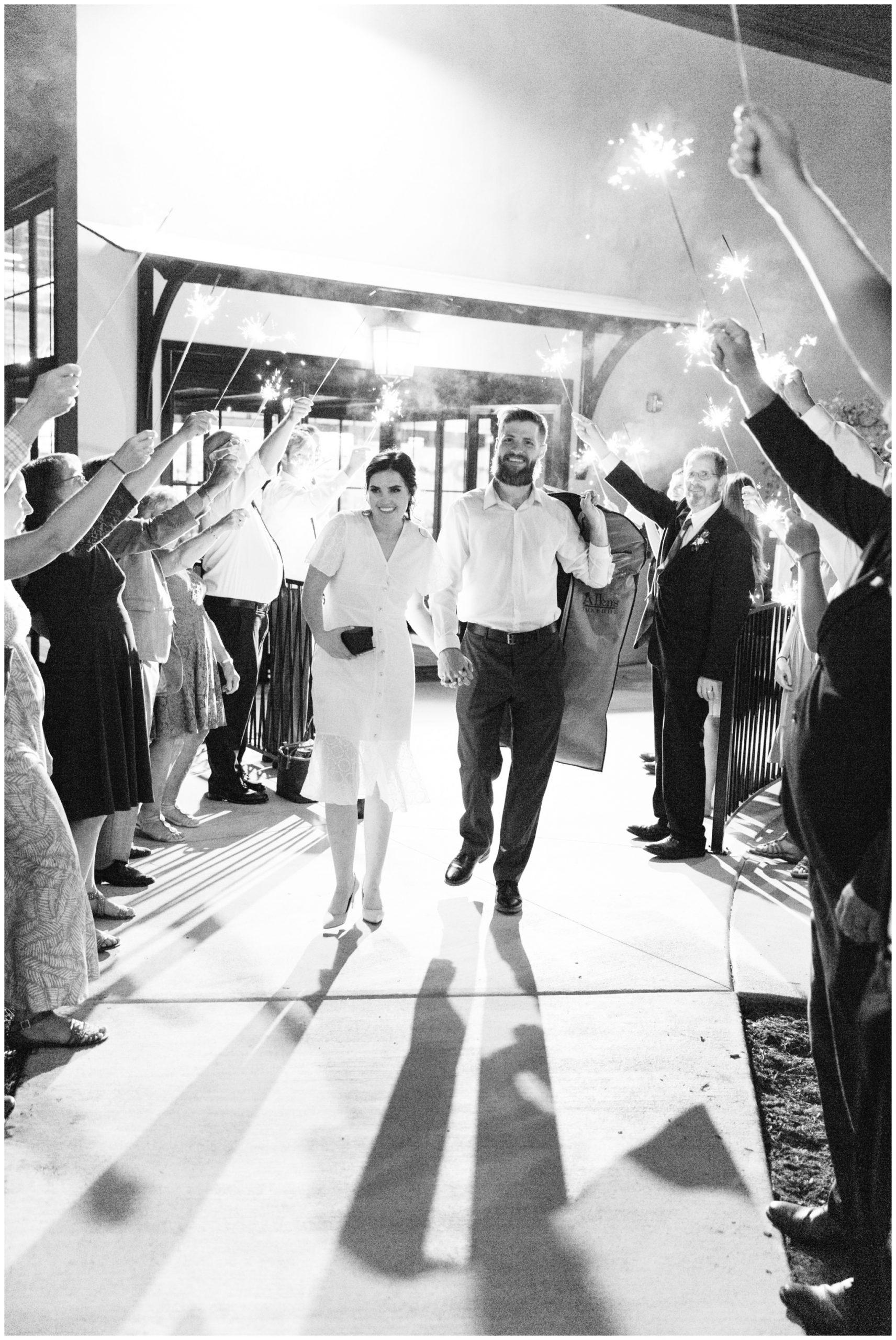 Sparkler exit at the Wild Oak Wedding Venue in Lindon, Utah
