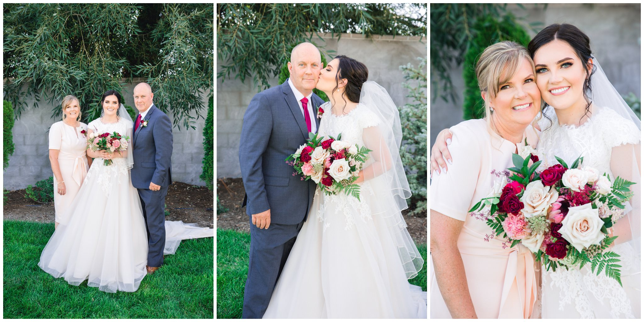 Bride and family pictures in the summer outside at the wild oak wedding venue in Lindon utah