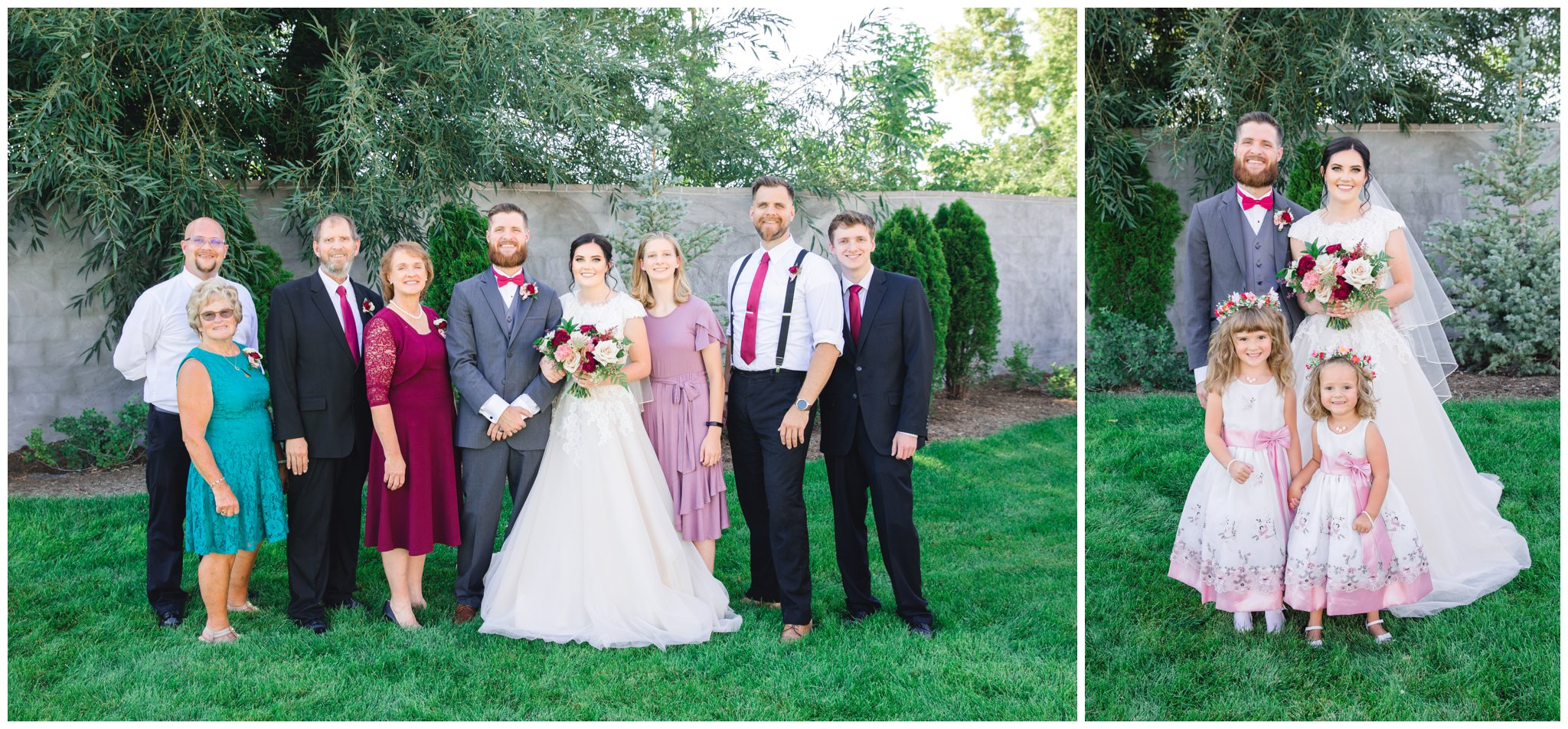 Groom posing for family pictures at summer wedding in Utah