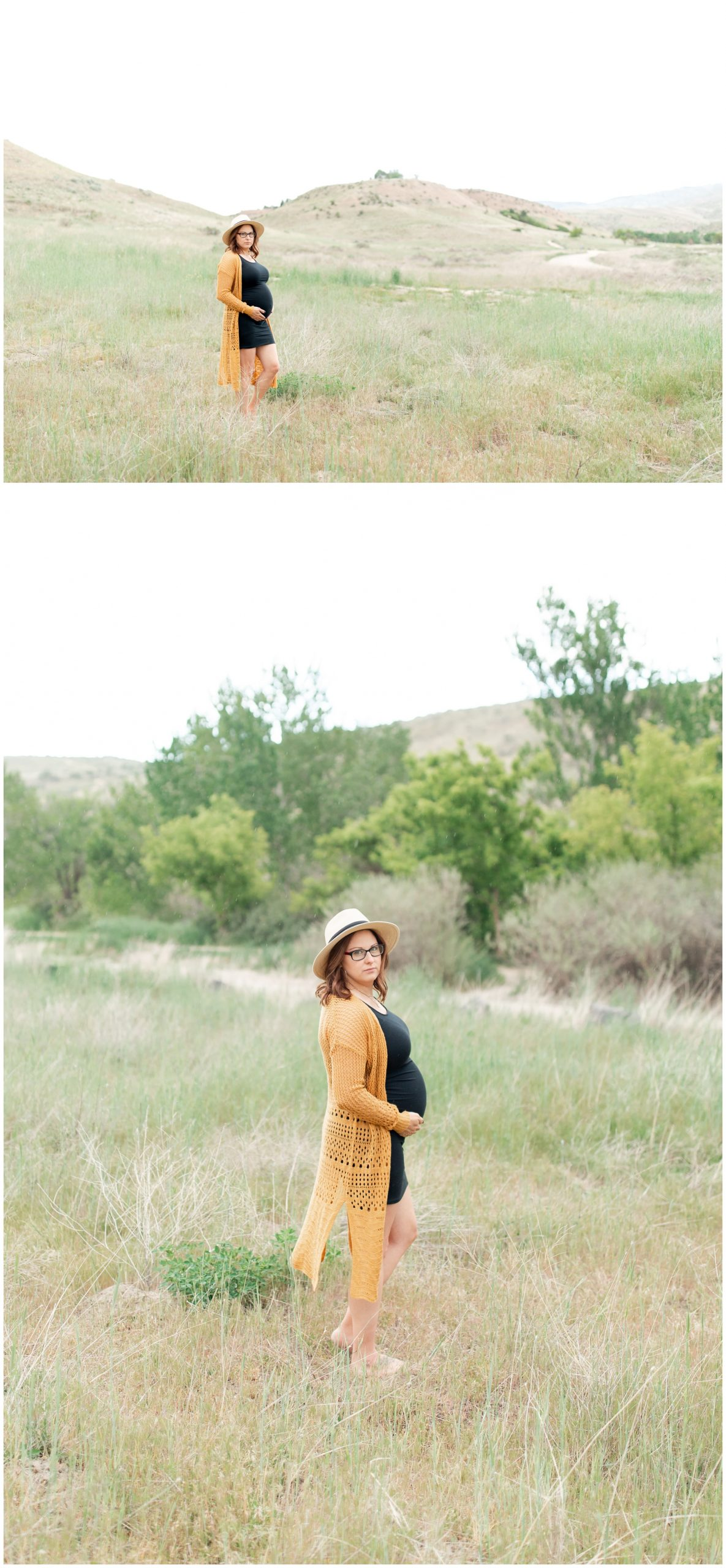 Boho maternity pictures in Boise, Idaho near the military reserve.