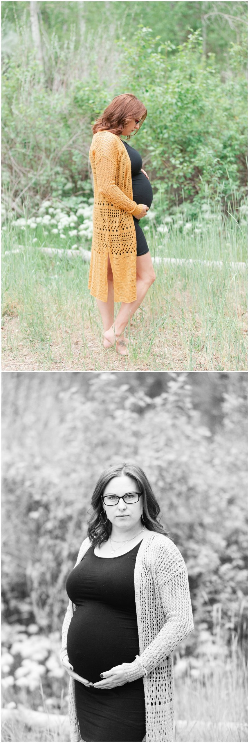 Summer Maternity Picture in Boise Idaho near the Foothills by the Military Reserve. Black and yellow maternity dress on pregnant woman.