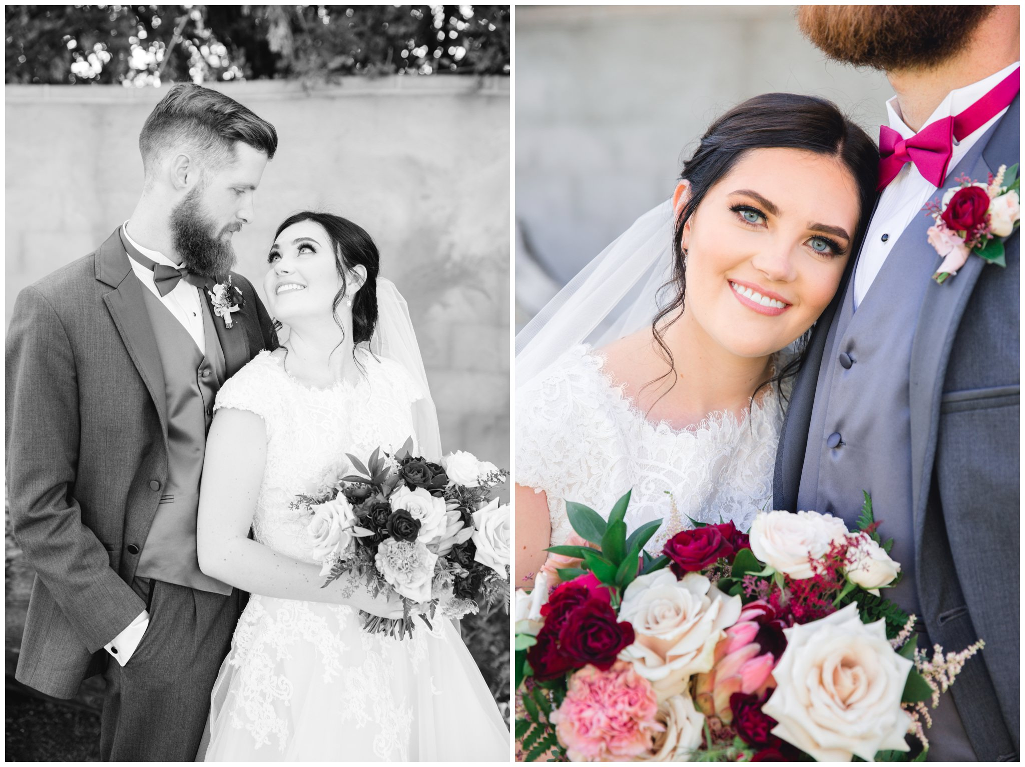 Bride and groom smiling at each other in their wedding pictures in Southern utah