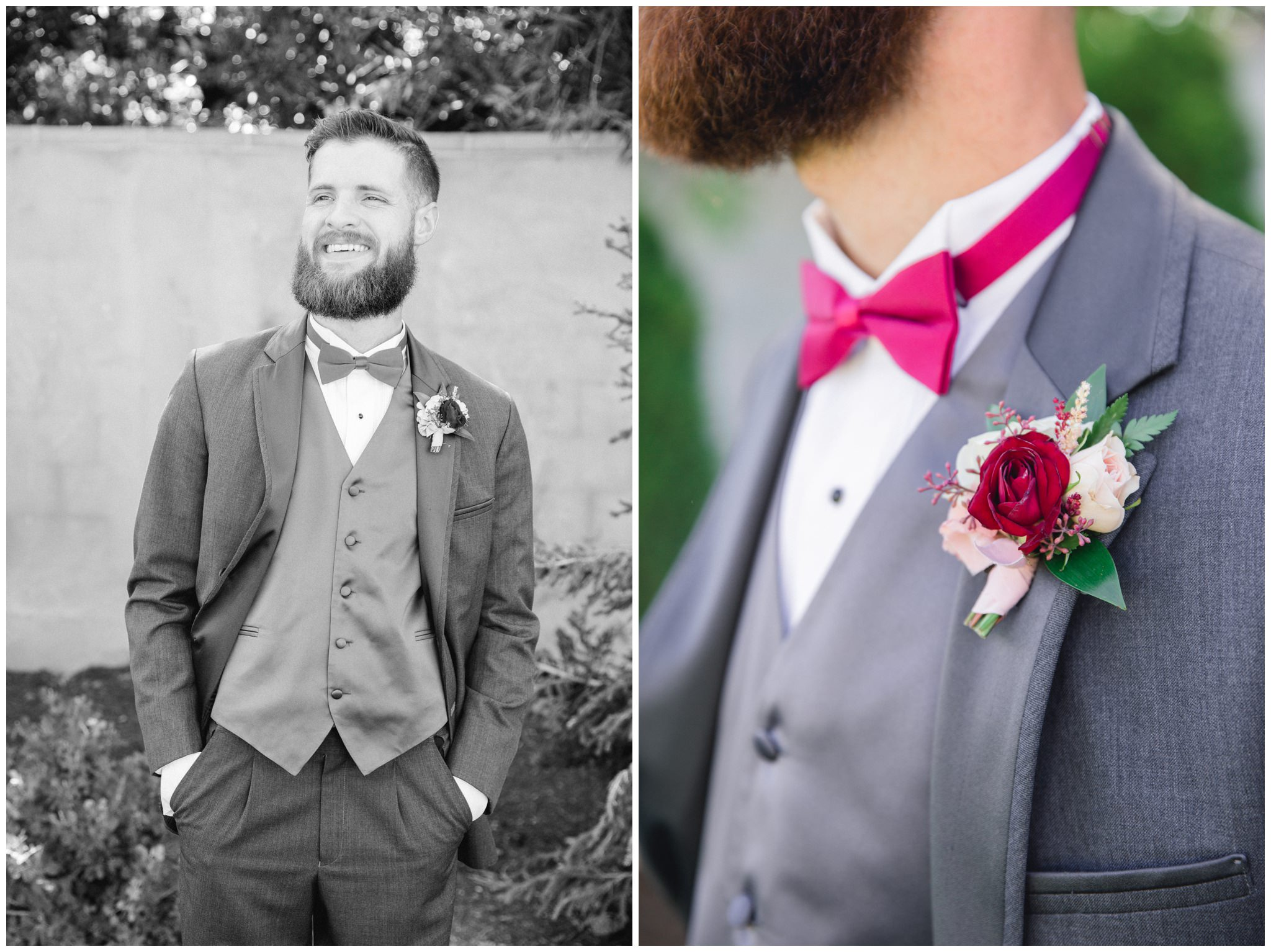 Groom pictures at detail images of his burgundy boutonniere by florist at the Wild Oak wedding Venue.