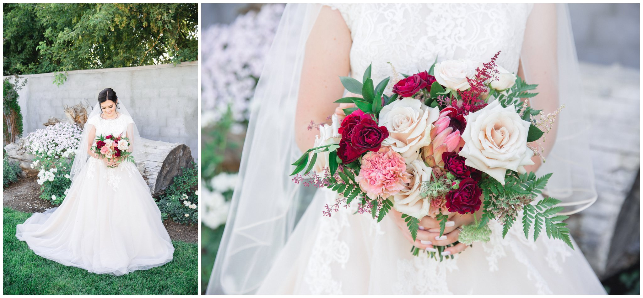 Bride holding her wedding bouquet for pictures whiling smiling. Detail shot of burgundy wedding bouquet made by florists from the wild oak wedding venue.