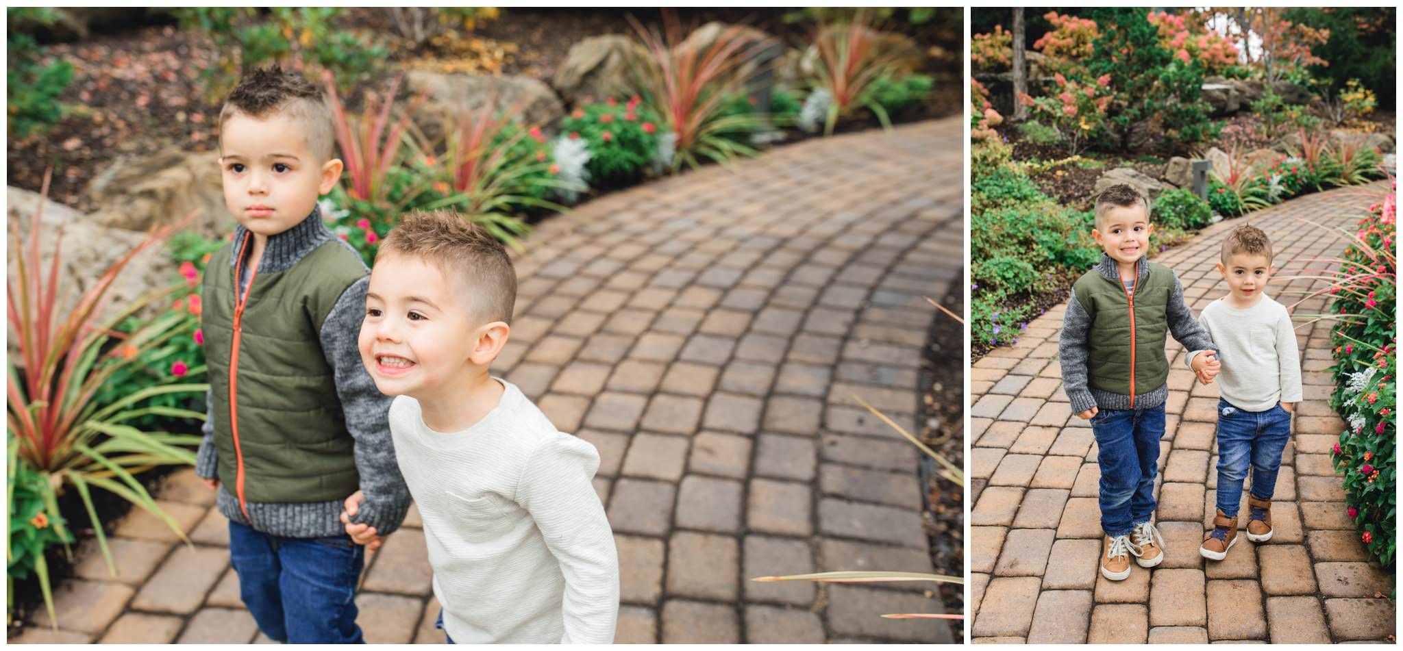 Boy siblings holding hands in Idaho falls for their extended family session