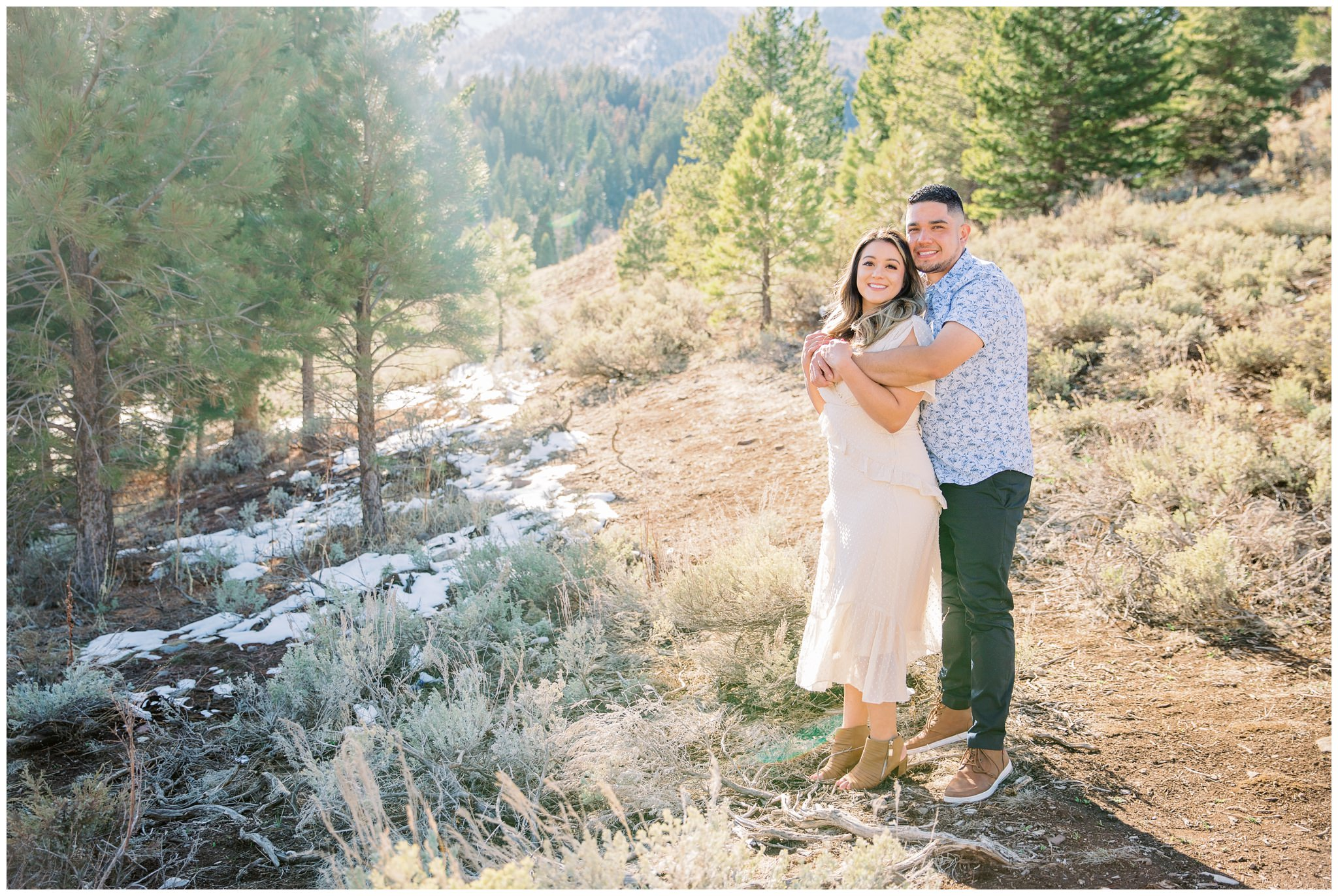 Mountainside engagement pictures at tibble fork reservoir in Utah up Provo Canyon
