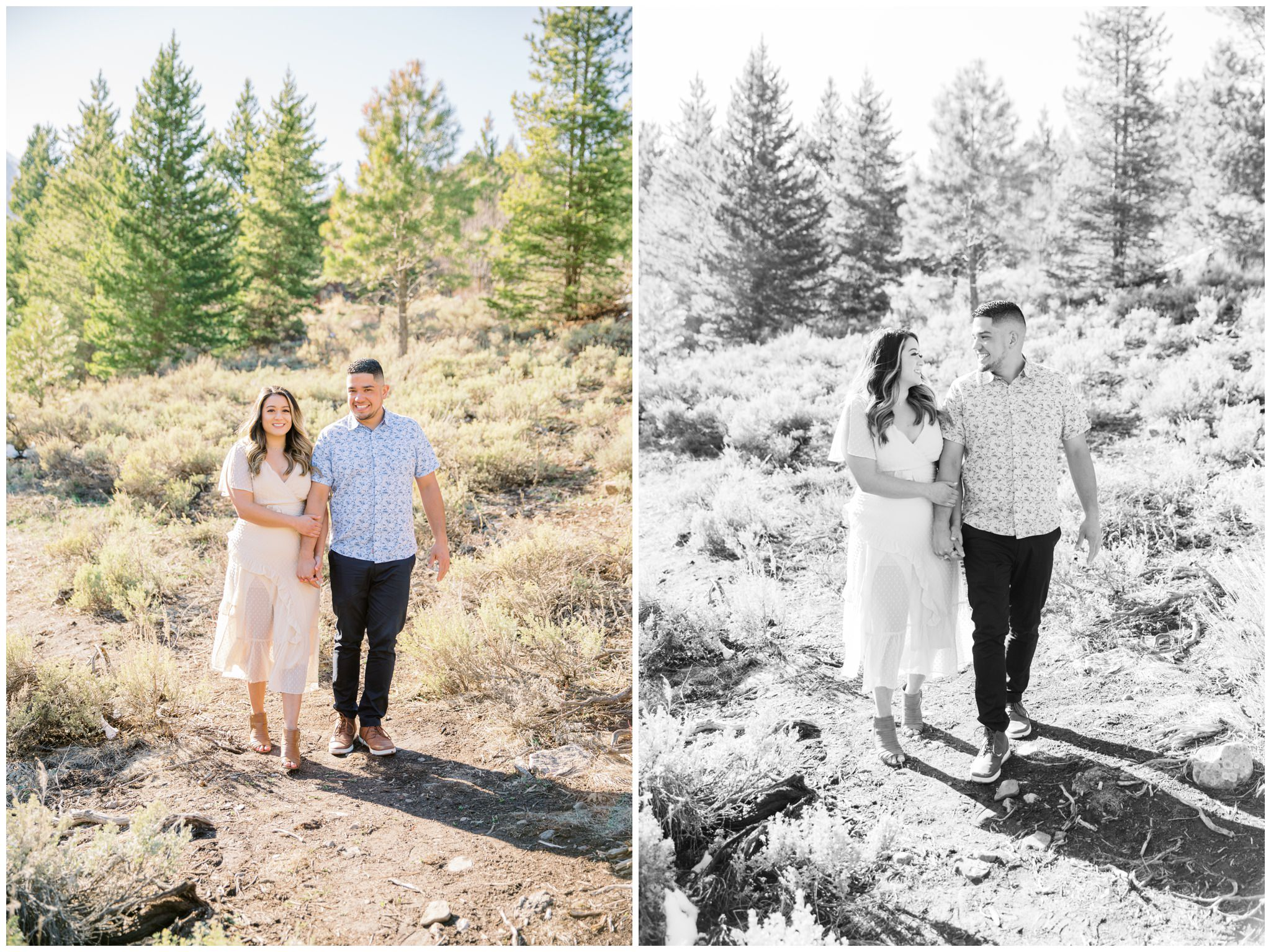 Couple walking towards the photographer during their spring engagement session at tibble fork