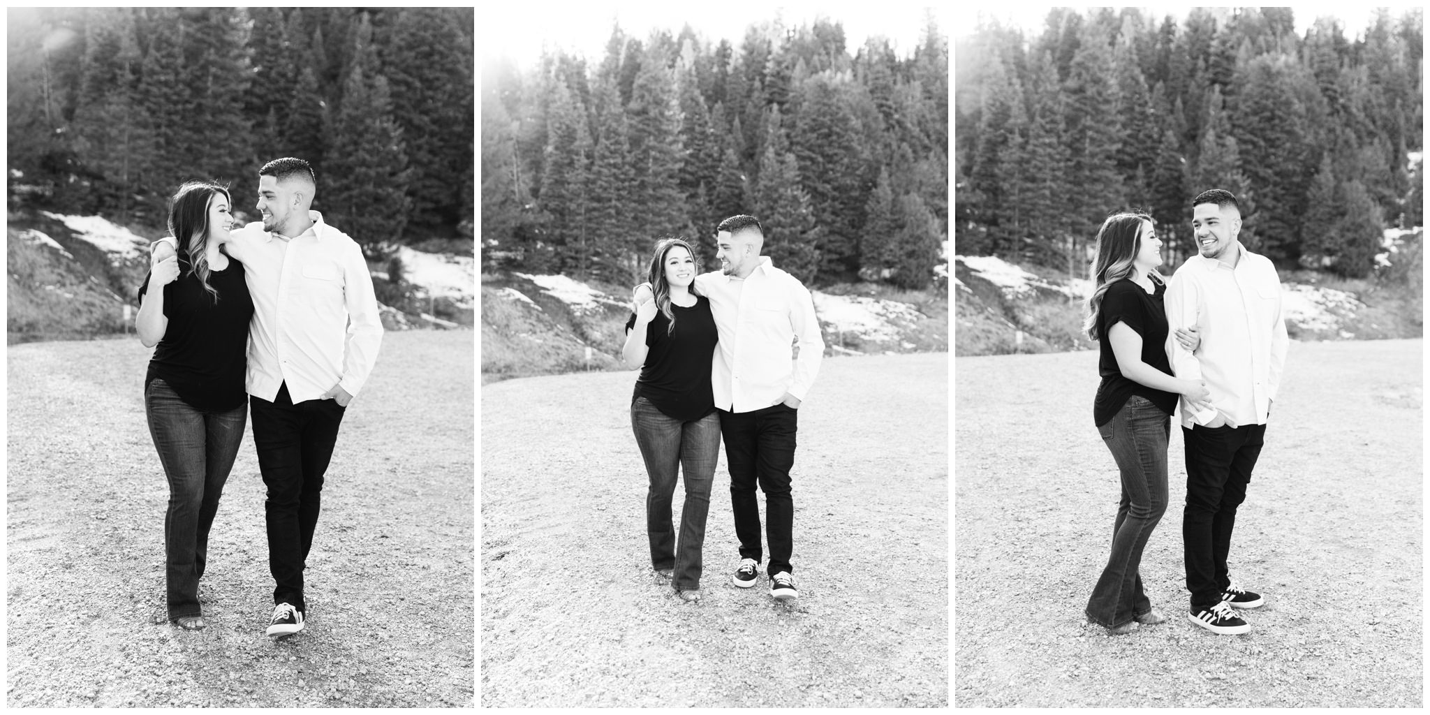 Black and white pictures of a spring engagement session at tibble fork
