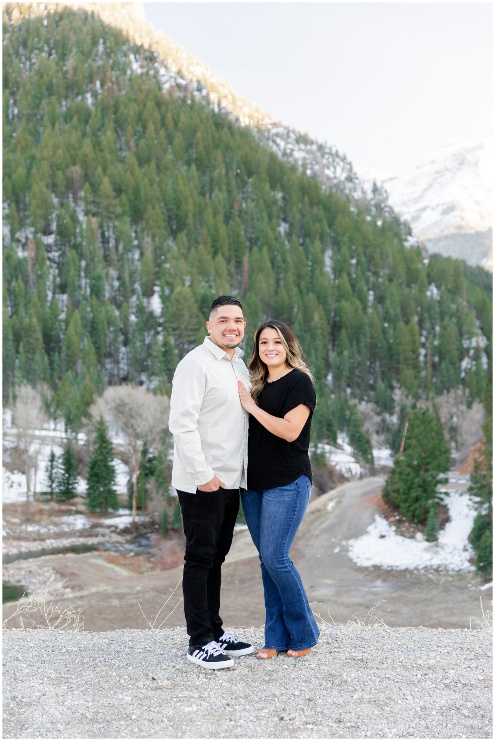 Snowy engagement session in Utah