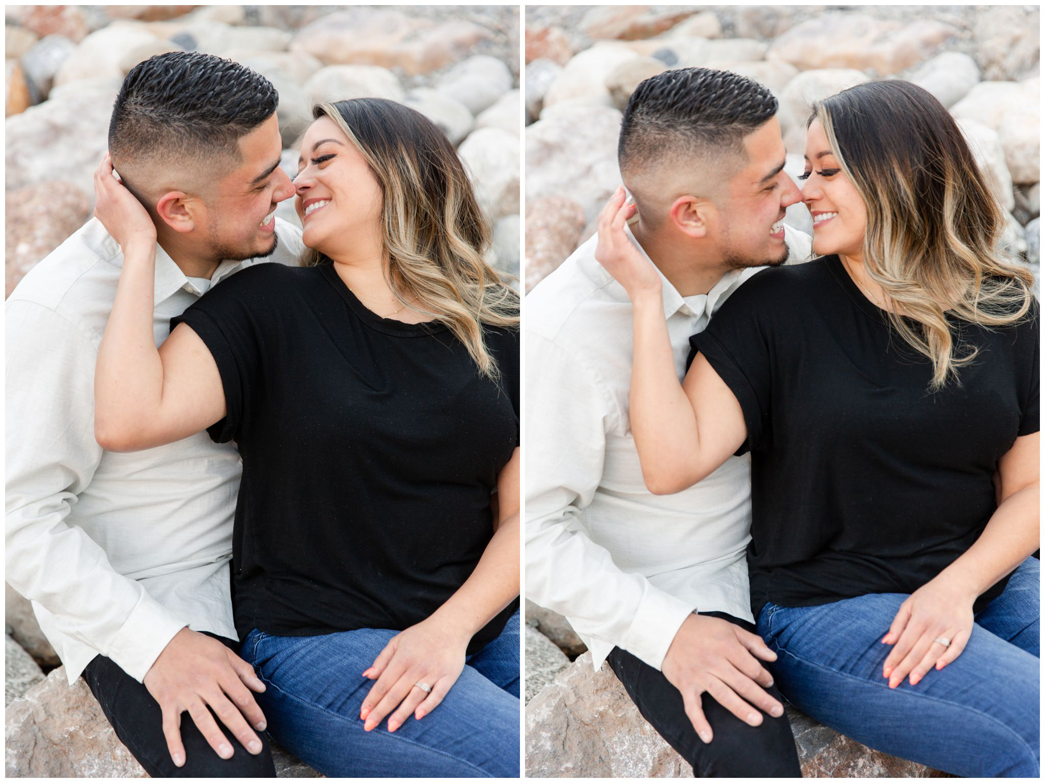 Bride and groom leaning in for a kiss during their engagement session at tibble fork